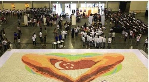 新加坡20000只杯型蛋糕拼图迎国庆,破吉尼斯世界记录
