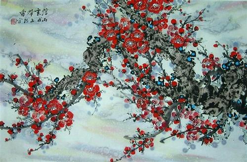 《赏梅》为冯立环大师的国画《报春图》配乐