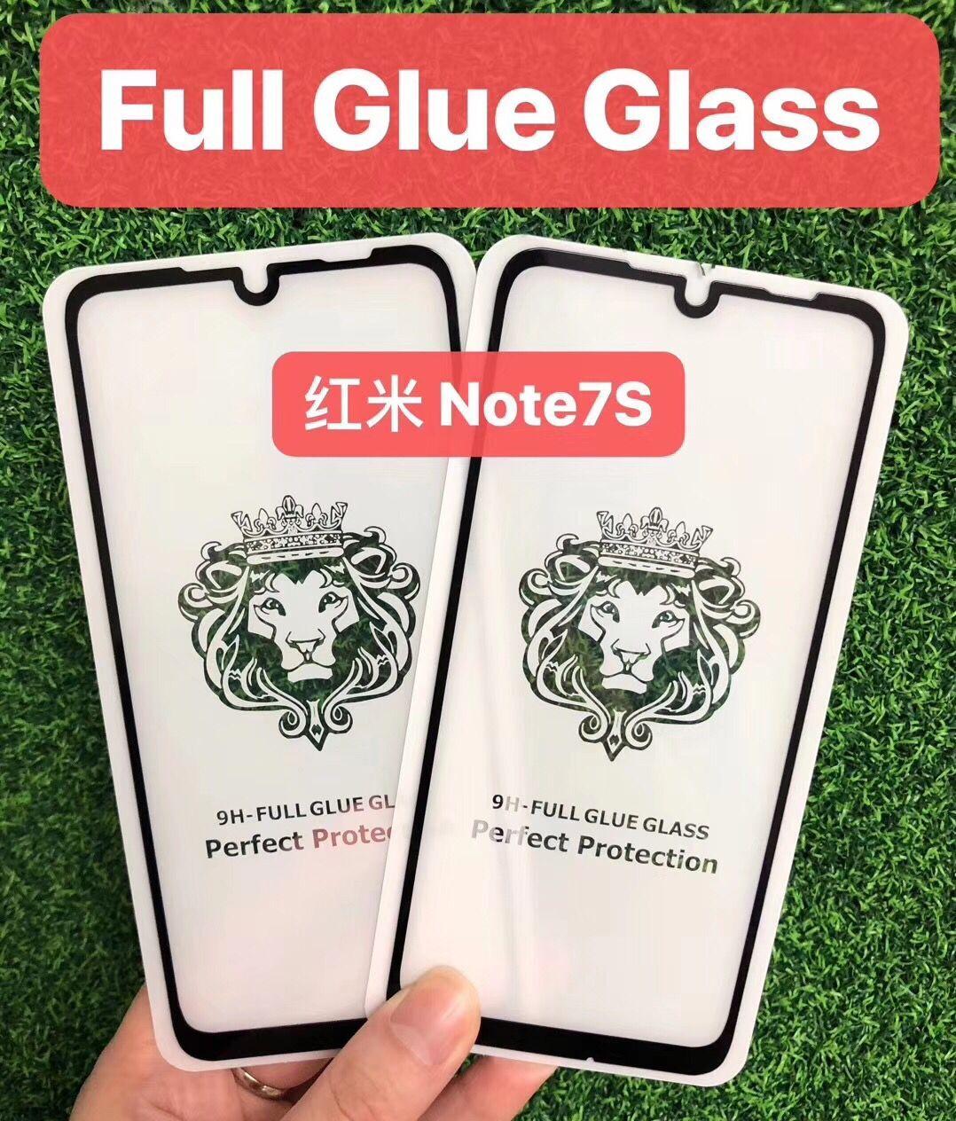 红米note7s狮子头全屏大弧满屏9D二强丝印钢化膜