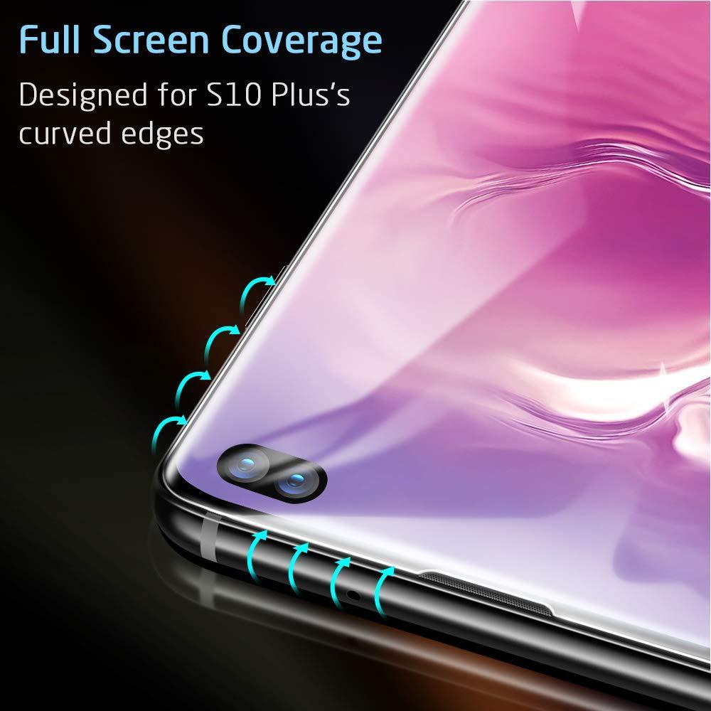 三星S10曲面全胶 Galaxy S10 手机贴膜屏幕保护膜 [无气泡] [9H 硬度] [防刮] 钢化玻璃屏幕保护膜适用于三星 Galaxy S10