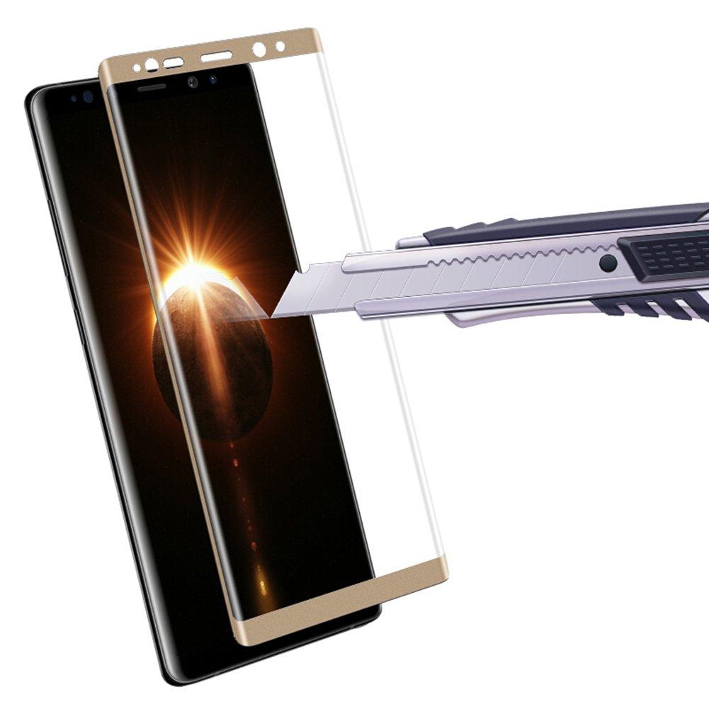 三星Note8钢化膜 全屏曲面 SAMSUN N9500防爆膜 耐用防划手机贴膜屏幕保护膜 3D超清晰9H硬度 无气泡 圆边设计  (三星Note8 6.3寸, 全屏版,缩小版皮套专用)