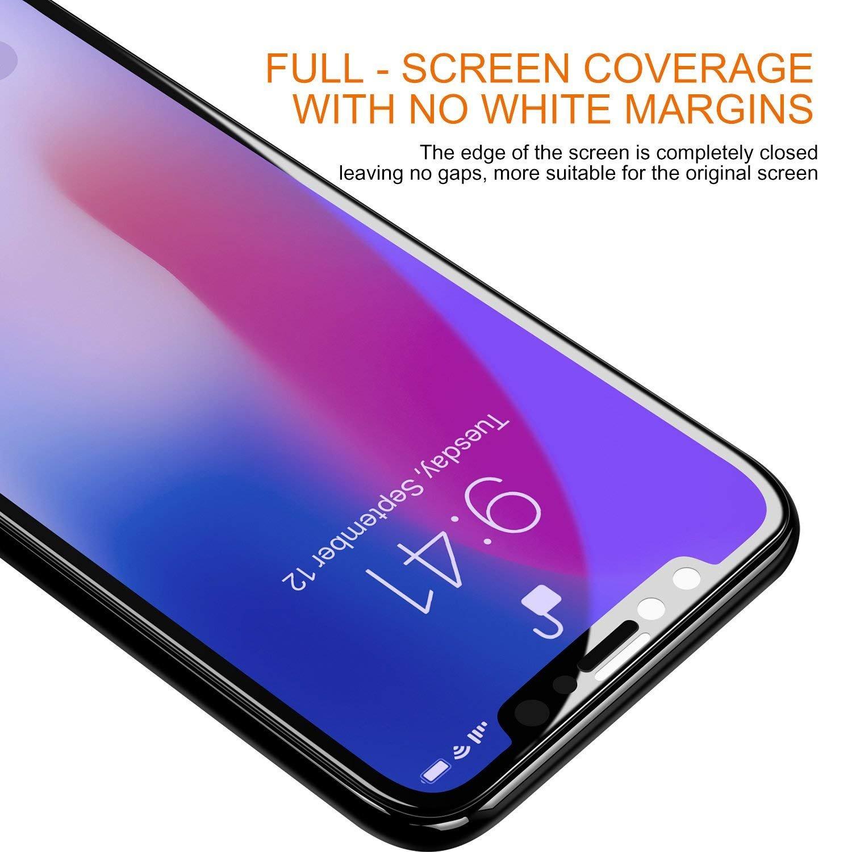 紫光弧边全屏 iPhoneX/XS/MAX钢化膜 苹果XS钢化膜 iPhoneX全屏钢化玻璃膜 苹果全屏手机膜 (iPhone X, 弧边紫光_全屏钢化膜)
