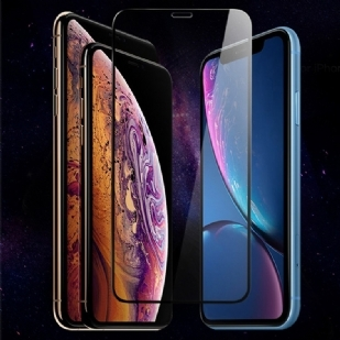 苹果iPhoneX/XS5.8全屏大弧满屏9D二强丝印手机贴膜钢化膜 iPhoneX/XS钢化膜苹果X全屏覆盖手机膜钢化膜防指纹透明玻璃贴膜 (iPhoneX/XS黑色)