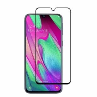 三星 Galaxy A40 二强丝印 手机贴膜屏幕保护膜,[无气泡] [防指纹] 9H 全胶玻璃膜适用于三星 Galaxy A40(黑色,透明)