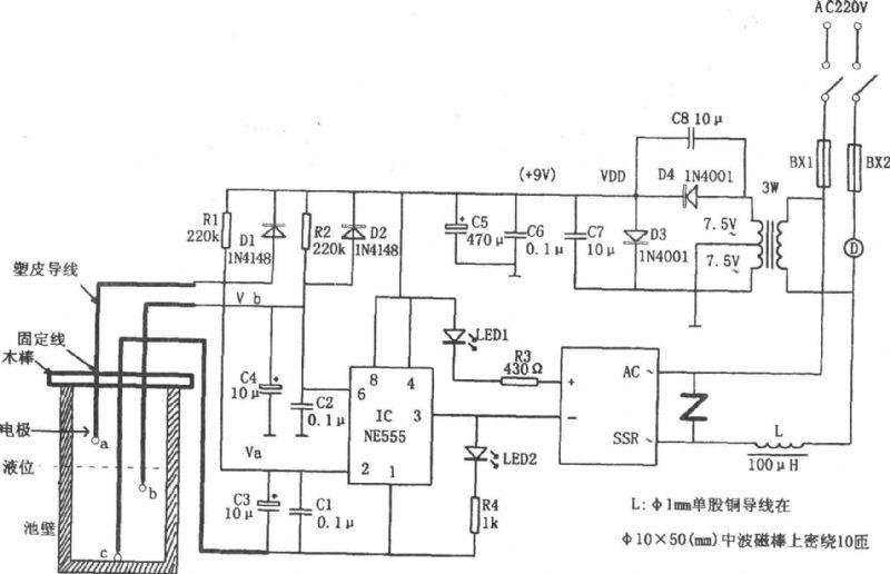 当水池内无水时,若刚接通电源,则因C3上电压不能突变而使IC(555)脚为低电平,555被置位,3脚输出的高电平使SSR截止,电机D不运转。此时C3、C4分别通过R1、R2进行充电,当C4上电压充到2/3VDD时,IC复位,脚输出的低电平使SSR内部的光电耦合器将交流220V电压接通,电机D因得电而运转抽水。当水位上升至b探极时,C4通过水进行放电,但555仍输出低电平,电机D继续转动。当水位升至探极a时,C3通过水进行放电,当C3放电到使脚电位低于1/3VDD时,555置位,3脚输出的高电平使SSR
