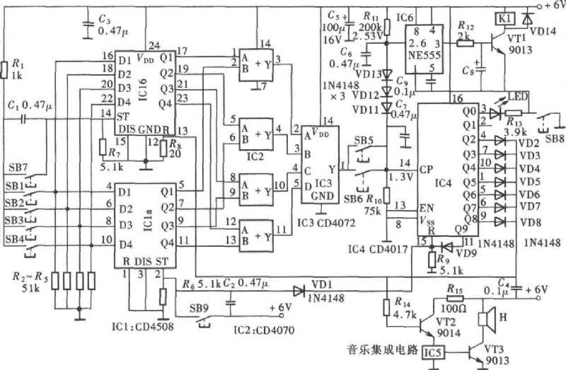 【中】【大】         能识别伪码的密码锁(cd4017,cd4093)电路图