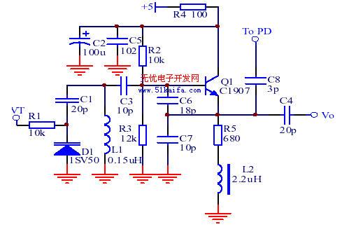 1 锁相环路的设计 锁相环路由集成锁相控制器,环路滤波器和压控振荡器