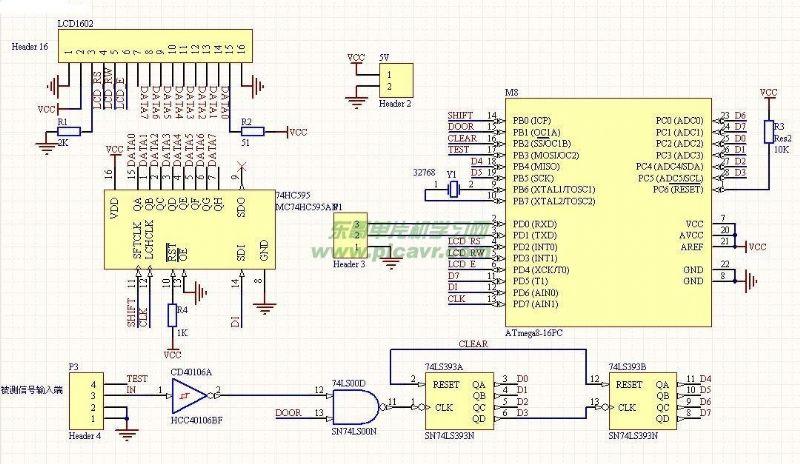 atmega8单片机频率计程序与电路图