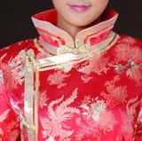 凤舞牡丹 大红色真丝织锦小凤仙新娘旗袍