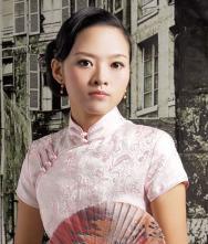 恰似水莲花不胜凉风的娇羞春夏浅粉色织锦短旗袍