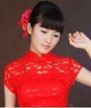 夜宴 性感大红蕾丝镂空长款新娘旗袍