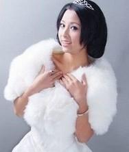 温暖奢华~高贵典范!白色新娘披肩婚纱披肩婚纱配件厚毛披肩-561