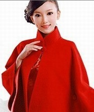 细软山羊绒红色斗篷 手工压边披风旗袍外套