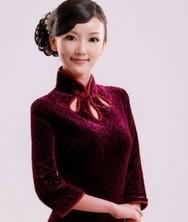 巧之韵纤影 丝绒长袖时尚改良长款旗袍