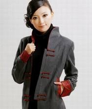 巧之韵羊绒长款 2色*灰 中式女装修身秋冬风衣 民族风春秋季外套