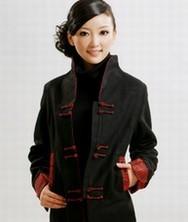 巧之韵羊绒长款 2色*黑 中式女装修身秋冬风衣 民族风春秋季外套