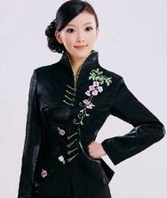 巧之韵新款秋装民族风秋季女装 黑色豪华刺绣修身长袖秋冬装外套