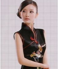 巧之韵花依鸟重磅真丝全手工蜀绣时尚改良旗袍