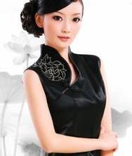 巧之韵重磅真丝. 黑牡丹全手工蜀绣时尚改良旗袍