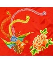 红盖头 手工刺绣 盘金喜字 凤穿牡丹 真丝重缎 新娘配饰