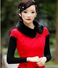 巧之韵秋冬新款 爱慕倾城 红色 毛领 时尚改良夹棉旗袍
