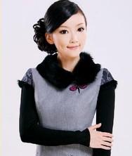 毛领冬裙 银蓝灰 巧之韵冬装新品夹棉旗袍裙