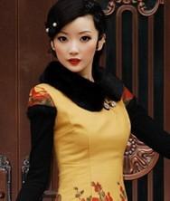 巧之韵秋冬新款 爱慕倾城 黄色 毛领 时尚改良夹棉旗袍