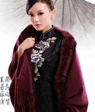 巧之韵紫舞天涯 羊绒兔毛超大保暖围巾 秋冬新款 柔软手感斗篷流苏披肩