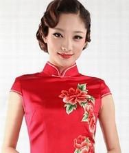 巧之韵蜀绣琉璃富贵牡丹图时尚改良新娘旗袍2011新款
