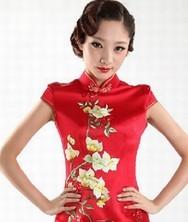 巧之韵 蜀绣百鸟迎春 新娘旗袍 红色手绣旗袍