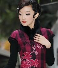 风艳*红色 兔毛刺绣 巧之韵冬装新款裙子 女装冬季新品旗袍裙