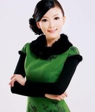 巧之韵秋冬装新款 爱慕倾城 绿 毛领 时尚改良夹棉旗袍