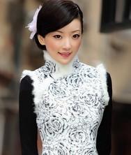 巧之韵秋冬装新款 银雪玫舞 白 兔毛夹棉 时尚改良旗袍
