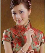 典雅墨绿色 真丝织锦一字盘扣长款旗袍