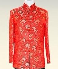 龙年男士唐装巧之韵 红色龙纹唐装 中式服饰 喜庆红底金