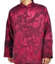 巧之韵男士唐装紫红色 长袖民族服装 龙年唐装
