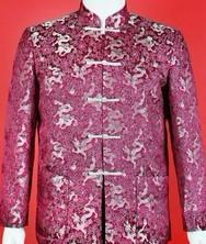 龙年男士唐装巧之韵 紫红色满地龙纹唐装 中式服饰