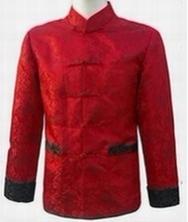 龙年男士唐装 巧之韵中式男装大红 冬装民族服装紫红 小龙花纹图案