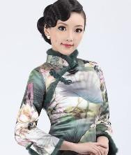 冬季时尚改良旗袍棉旗袍巧之韵艳荷 凤凰盘扣 绿意荷花