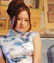 巧之韵◆白底蓝花冰丝缎子短款旗袍白青花