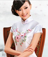 巧之韵.紫玉兰 重磅真丝 渐进色手工绣时尚改良旗袍