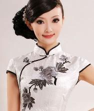 巧之韵 绣芙蓉 真丝提花缎 改良时尚旗袍