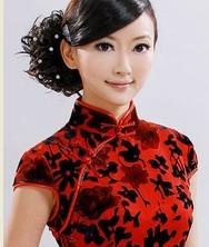 巧之韵【真丝丝绒. 玫红】长款豪华旗袍 时尚改良夏装