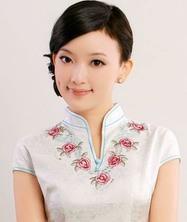 浅情.词 巧之韵 白色提花真丝绣花 2011夏新品旗袍