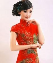 巧之韵 红色锦缎新娘装 改良旗袍礼服 新娘旗袍