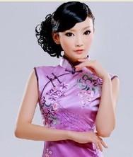 巧之韵 重磅真丝. 紫风瑶华丽典雅蜀绣 时尚改良旗袍