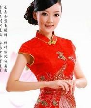 金屏风 豪华手工钉珠 新娘结婚红色礼服 时尚改良旗袍