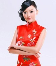 巧之韵 重磅真丝【红豆词】华丽红装蜀绣新娘旗袍