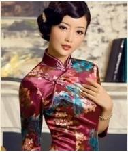 巧之韵 双生花 秋冬旗袍装 新款中长袖印花短款复古旗袍(红)