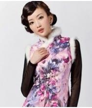 巧之韵 香雪海 秋冬装毛领无袖时尚短款改良复古旗袍